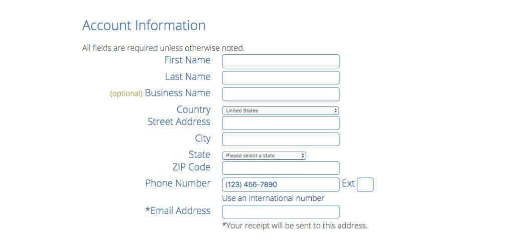 Fill out Bluehost Account Info