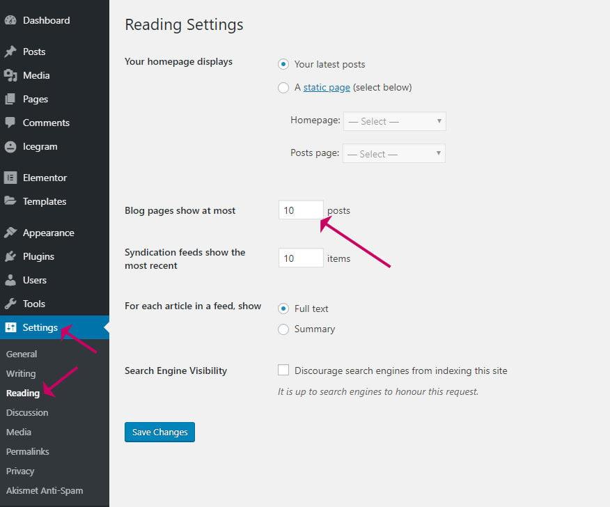 WordPress reading settings - max posts per page