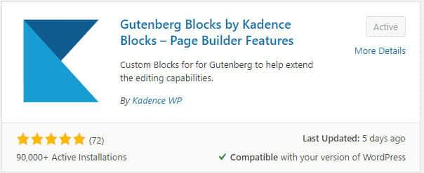 kadence blocks plugin